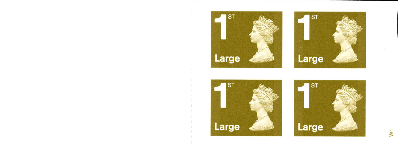 2006 GB - RB1 - 4 x 1st Large Gold Booklet Plain