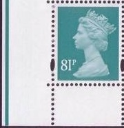 2008 GB - SGY1739 81p (D) Sea Green 2B Left Corner Marginal MNH
