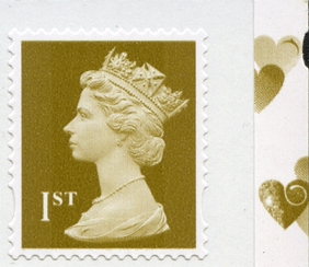 2008 GB - UJW6 1st Gold (W) S-Adhesive from SA2 Booklet r1.3 MNH