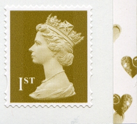 2008 GB - UJW6 1st Gold (W) S-Adhesive from SA2 Booklet r2.3 MNH