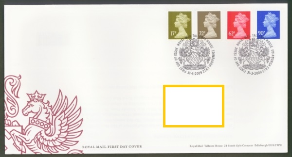 2009 GB - FDC - 4 x Changed Definitives 17p to 90p (Addressed)