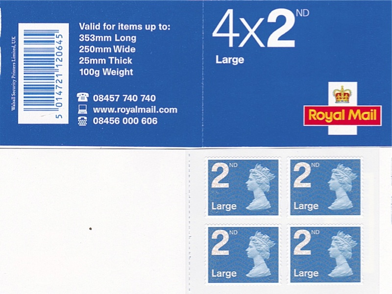 2009 GB - RA2 - 4 x 2nd Large Brt Blue Security (FOYAL) Bk Plain