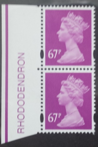 2010 GB - SGY1735 (U460) 67p Rhododendren (D) 2B Colour Pair MNH
