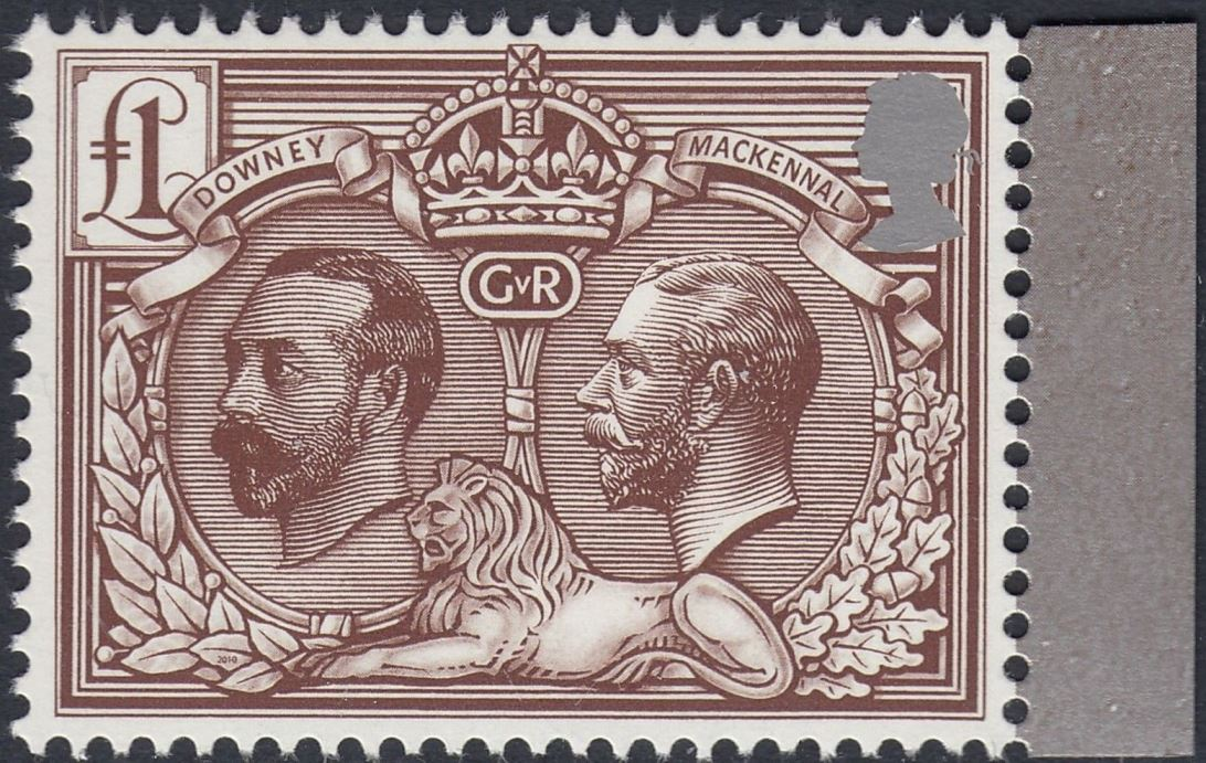 2010 GB - SG3069a KGV/EII £1 Brown (C) from GV PB DX50 MNH