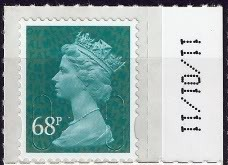 2011 GB - SGU2926 68p Sea Green (D) 2B Date Single M11L MNH