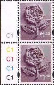 2011 GB - SGEN18c £1.10 Rose Cyl C1C1C1C1C1 Pair MNH