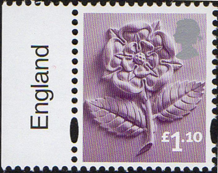 2011 GB - SGEN18c £1.10 Rose ENGLAND (C) Marginal Single MNH