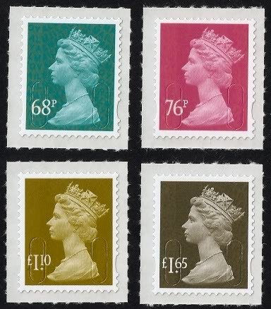 2011 GB - Set 4 High Value Self Adhesive Machins (68p-£1.65) MNH