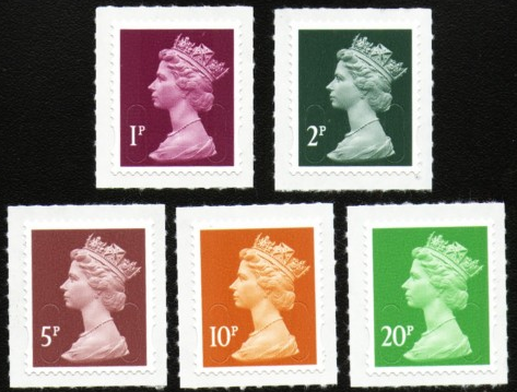 2011 GB - Set of 5 Lo Value Self Adhesive Machins (1p-20p) MNH