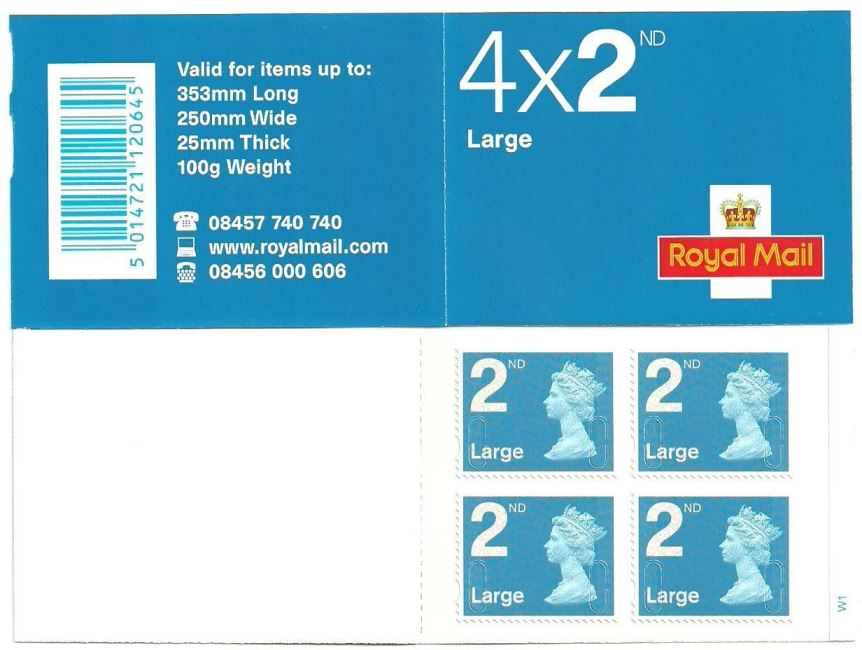 2011 GB - RA2b - 4 x 2nd Large Bright Blue Security Bk Cyl W1