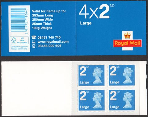 2011 GB - RA2c - 4 x 2nd Large (FSC) Blue Bk of 4 MA11 Cyl W1