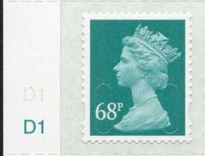 2011 GB - SGU2926 68p Sea Green (D) 2B Cyl D1 Single M11L MNH