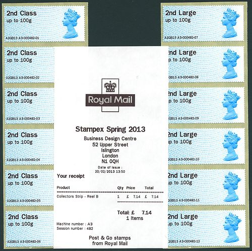 2013 GB - Post & Go Stampex 2nd Class PAIR set of 6 from A4 MNH