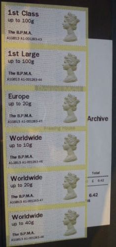 2013 GB - Post & Go B.P.M.A. Machin Set of 6 (+Receipt) MNH