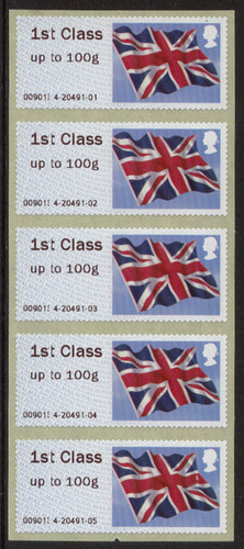 "2013 GB - Post & Go Error (Shrunken ""T"") 1st Flags (5) MNH"