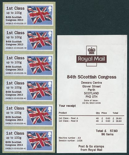 2013 GB - Post & Go Perth Error (1) Receipt 1st Flags (6) MNH