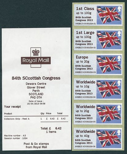 2013 GB - Post & Go Perth Error (A3) Receipt Diff Flags (6) MNH