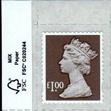 2014 GB - SGU2932-14F £1.00 Wood Brown M14L MTIL Forgery FSC MNH