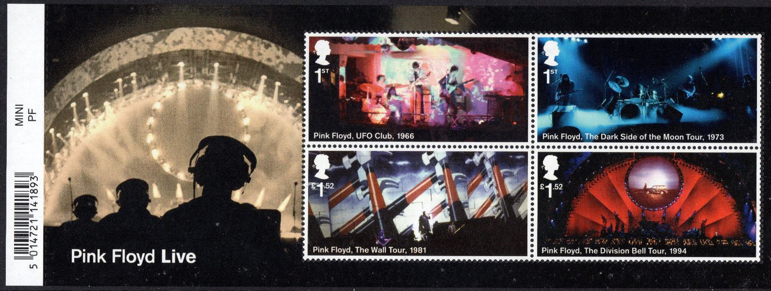 2016 GB - MS3855 - Pink Floyd Mini Sheet with Bar Code MNH