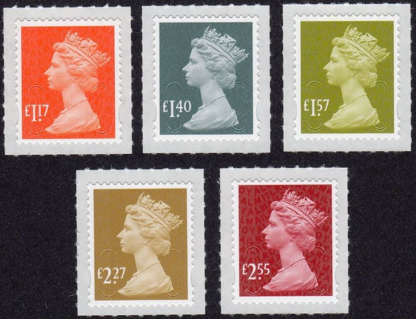 2017.Vvar.01 GB - Complete Set of Valued Singles Plain (5) MNH