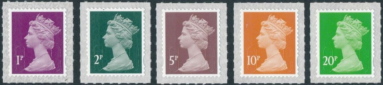 2018 GB - SGU2920-24 1p-20p (W) 2B Counter Sht M18L Set (5) MNH