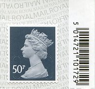 2020 GB - SGU2925-17 50p Slate Grey (W) M19L Bar-Code Single MNH