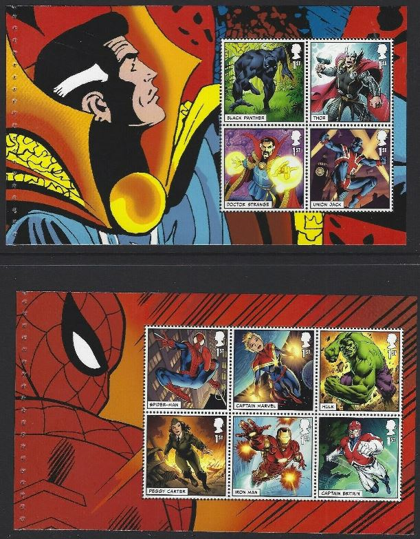 2019 GB - SGxxx Marvel Super Heroes Panes 1 & 2 from DY29 MNH