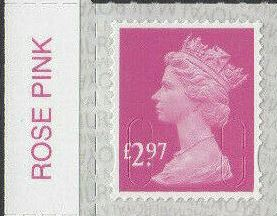 2017 GB - SGU2965-20[i] £2.97 Pink (W) Colour Single SBP2i MNH