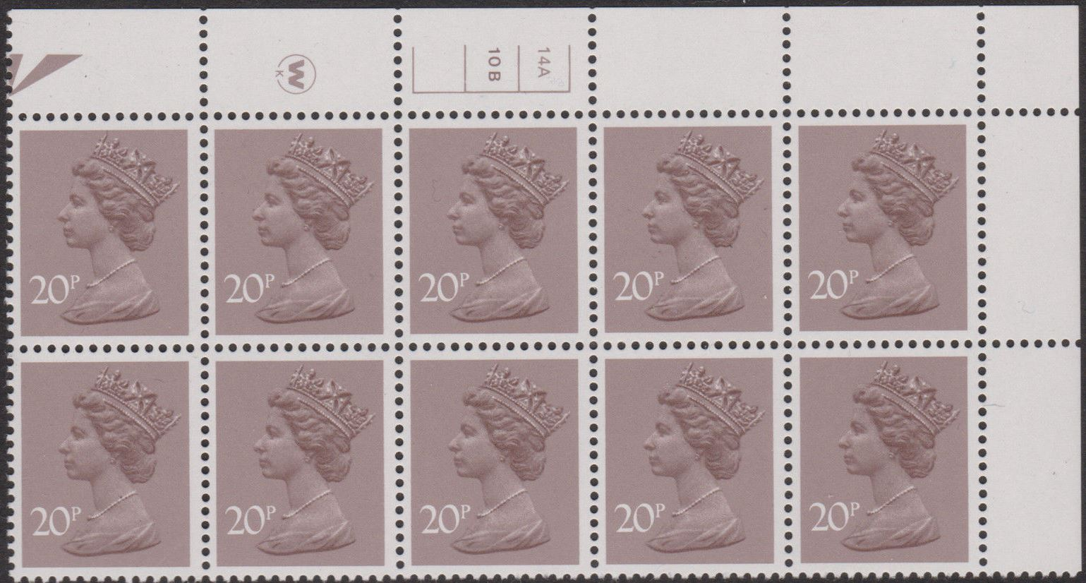 1983 GB - SGX999 (UG49-1) 20p Waddington CYL 14A10B No Dot (10)