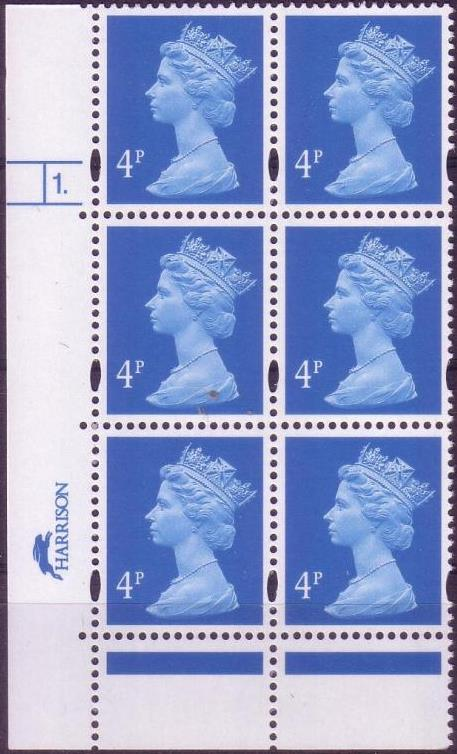 1997 GB - SGY1669 (U132E) 4p Blue (H/D) Cyl 1 dot p45 (6) CA MNH