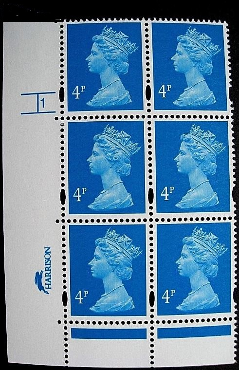 1997 GB - SGY1669 (U132E) 4p Blue (H/D) Cyl 1 ND p45 (6) CA MNH