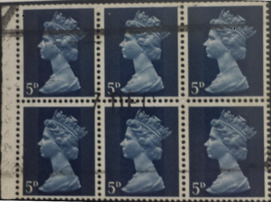 1968 GB - SG735l (UB19-2) 5d Dk Blue 2B Pane of 6 Used - Click Image to Close