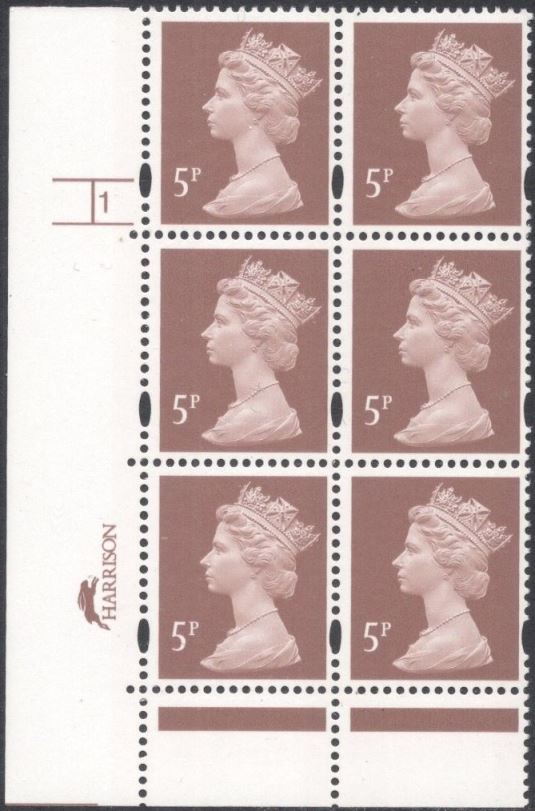 1997 GB - SGY1670 (U140E) 5p (H/D) Cyl 1 no dot p47 (6) CA MNH