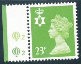 1988 GB - SGNI56 (XNL40) 23p Bright Green Q2Q2 CYL Single MNH