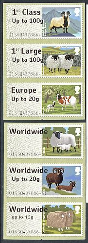 2012 GB - Post & Go Sheep set of 6 Large Font ERROR