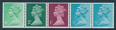 1975 GB - SGX841q (UMC5) 10p Multi-Value Coil Strip (5) MNH