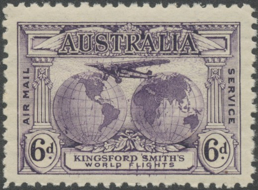 1931 AUS - SG123 6d Kingford Smith's World Flights Marginal MNH