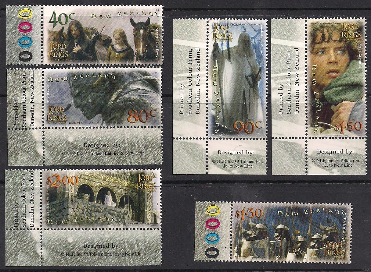 2002 NZ - Lord of Rings Two Towers Marginal Set (6) MNH