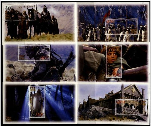 2002 NZ - Lord of Rings Two Towers Set (6) Miniature Sheets MNH