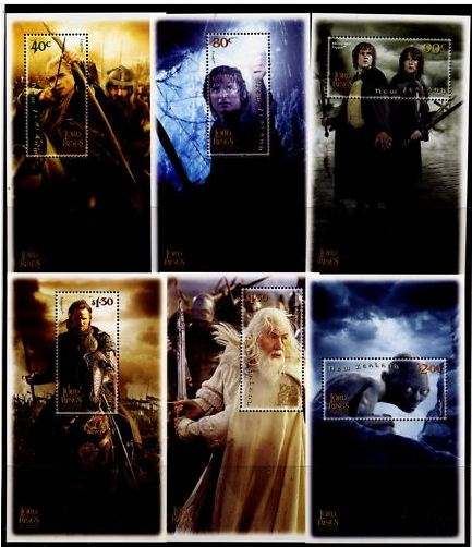 2003 NZ - Lord of Rings Return Set (6) Miniature Sheets MNH