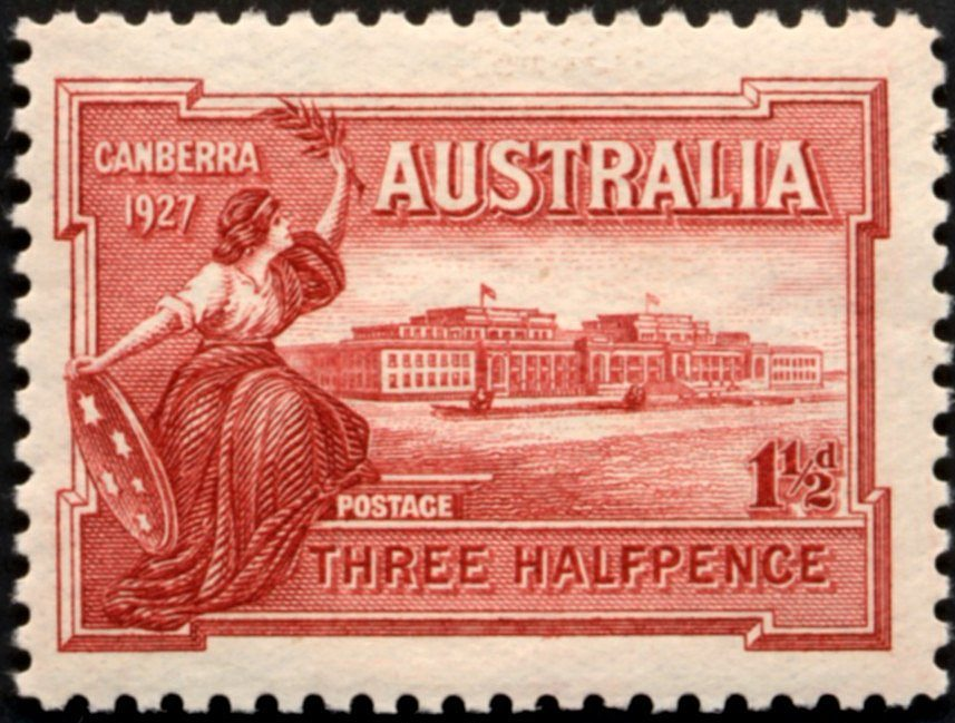 1927 AUS - SG105 1½d Opening of Parliament House Canberra MNH