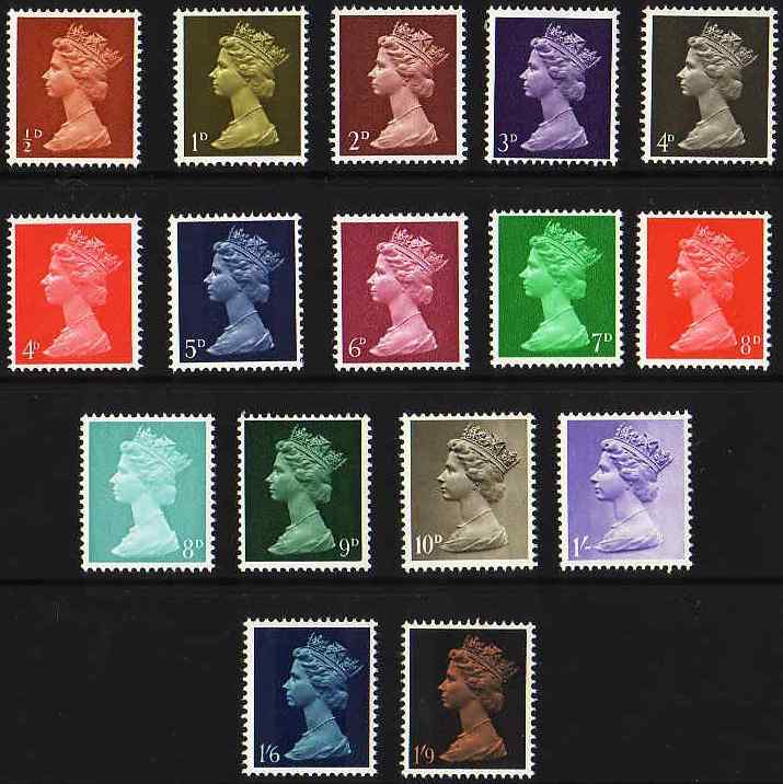1967-69 GB - SG723-744 ½d-1/9d Basic Colour Set of 16 MNH