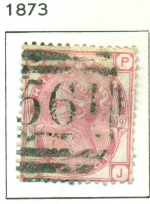 "1873 GB - SG143 3d Plate 19 Rose (""JP"") Used"