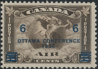 1932 CDN - SG318 (C4) 6¢ on 5¢ Airmail Ottowa Conference O/P MM