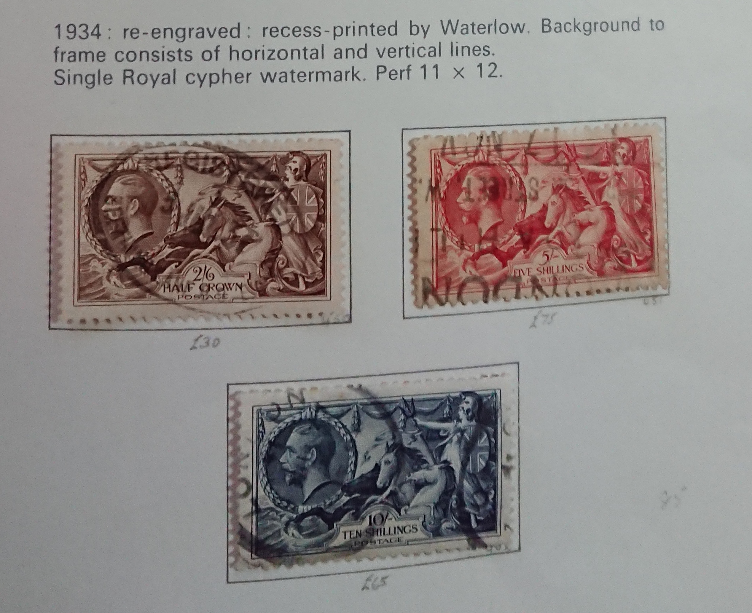 1934 GB - SG450-52 2/6d, 5/- and 10/- Seahorse Values FU