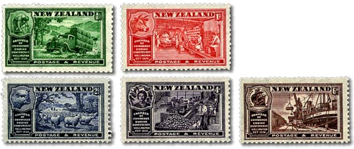 1936 NZ - SG593-7 Chamber of Commerce Empire Conference (5) MNH