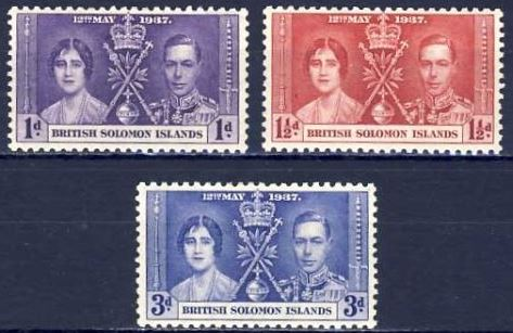 1937 Br Solomon Is - SG57-59 GVI Coronation Set (3) MM