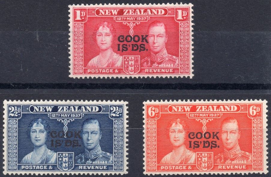 1937 Cook Islands - SG124-26 GVI Coronation Set (3) MM