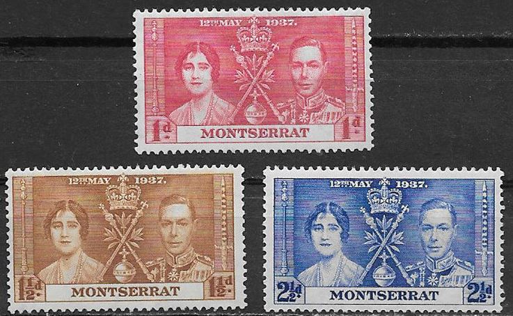 1937 Montserrat - SG98-100 GVI Coronation Set (3) MM