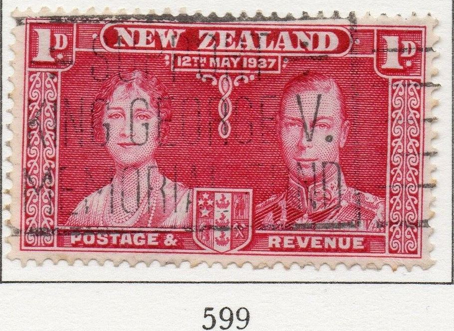 1937 NZ - SG599 GVI Coronation 1d Red Used
